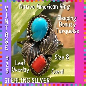 Jewelry - Vintage STER Turquoise/Coral Leaf NA Ring 8.5